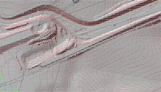 Schummerungskarte (Hillshade) mit Höhenschicht hinterlegt mit Flurstücksgrenzen